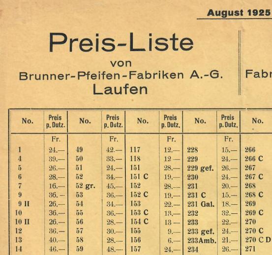 Preisliste Brunner